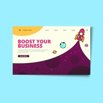 Modèle web de page de renvoi startup business