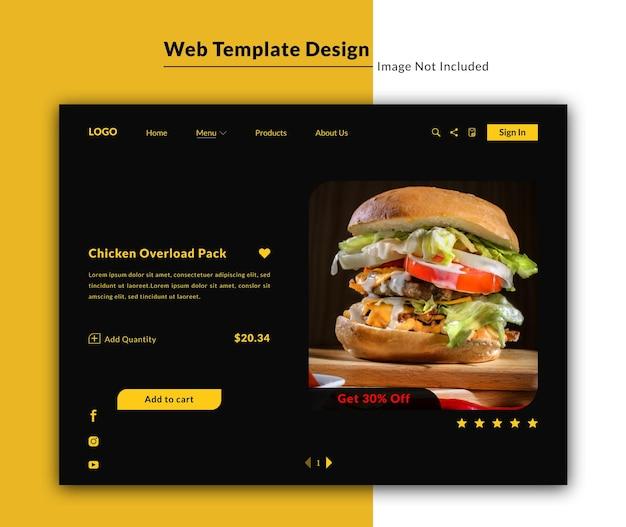 Modèle web de restaurant en mode sombre ou conception d'interface utilisateur de page de destination