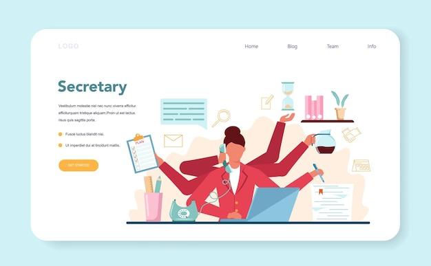 Modèle web de secrétaire ou page de destination. réceptionniste répondant aux appels et aidant avec le document. employé de bureau professionnel au bureau sur ordinateur.