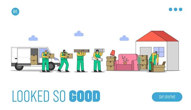Modèle web de services de déménagement avec des chargeurs transportant des meubles de maison dans une boîte en carton