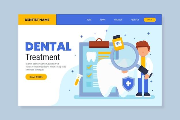 Modèle web de soins dentaires design plat
