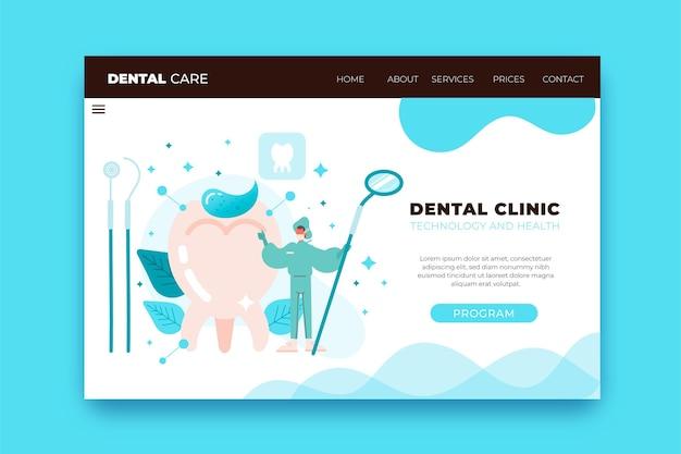 Modèle web de soins dentaires plats