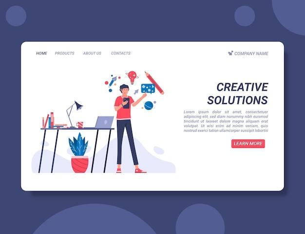 Modèle web de solutions créatives plates organiques