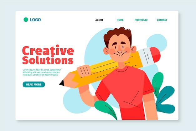 Modèle web de solutions créatives plates