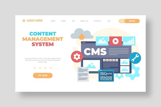 Modèle web de système de gestion de contenu design plat