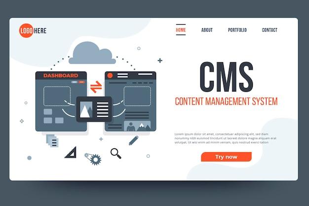 Modèle web de système de gestion de contenu plat