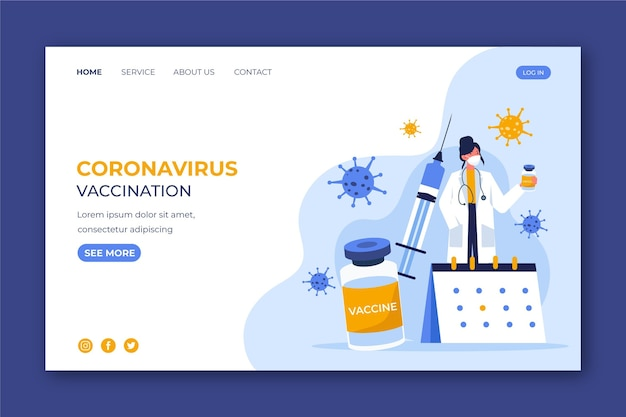 Modèle web de vaccin plat contre le coronavirus