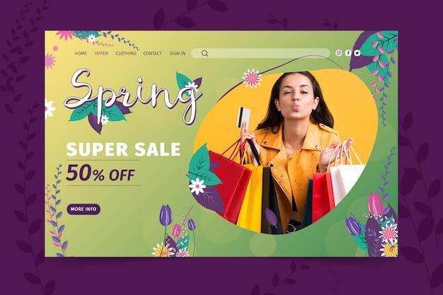 Modèle web de vente de printemps plat