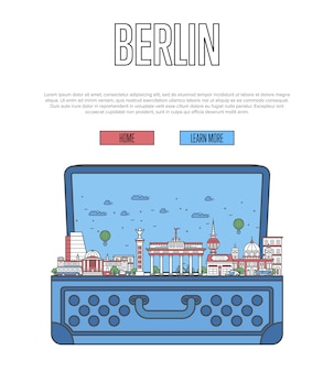 Modèle web de ville de berlin avec valise ouverte