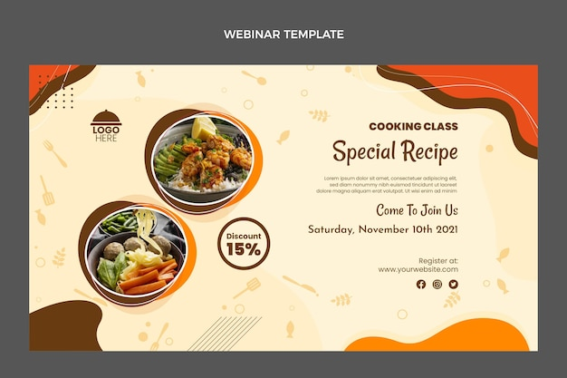 Modèle de webinaire de recettes spéciales design plat