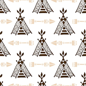 Modèle de wigwam sans soudure avec des flèches. modèle de tente amérindienne.