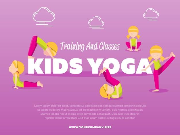 Modèle de yoga pour enfants de cours et de formation
