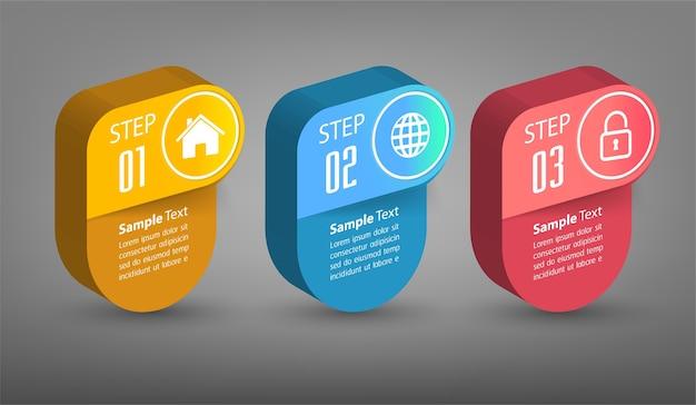 Modèle De Zone De Texte 3d Moderne, Bannière Infographie Vecteur Premium
