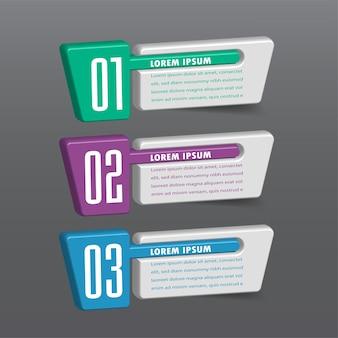Modèle de zone de texte 3d moderne, bannière infographie