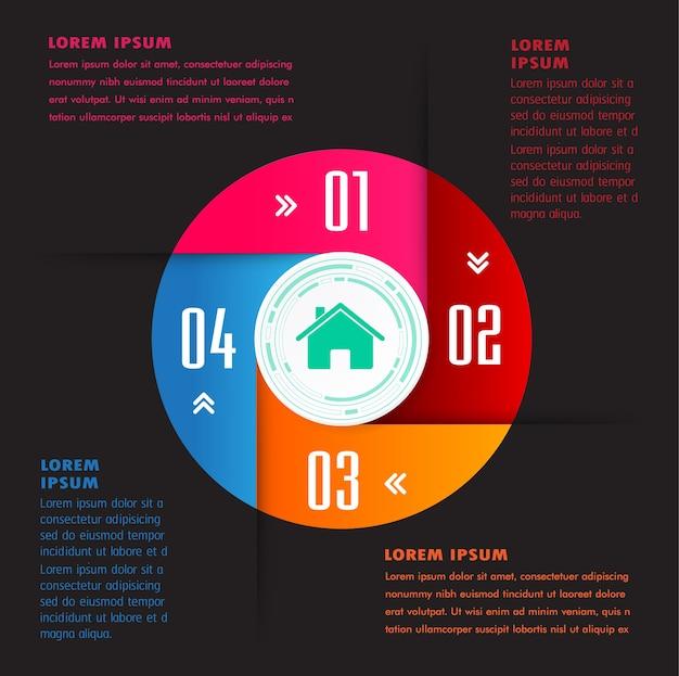 Modèle de zone de texte cercle, bannière infographie