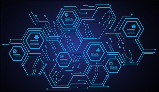 Modèle de zone de texte de circuit hexagonal