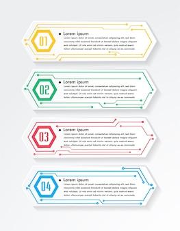 Modèle de zone de texte de circuit numérique, bannière infographique