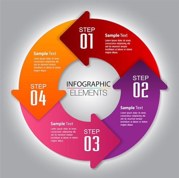 Modèle de zone de texte flèche cercle, bannière, infographie