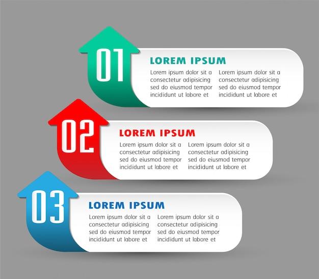 Modèle de zone de texte papier flèche moderne, bannière infographie