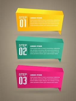 Modèle de zone de texte papier moderne, bannière infographique. bulle de dialogue 3d.