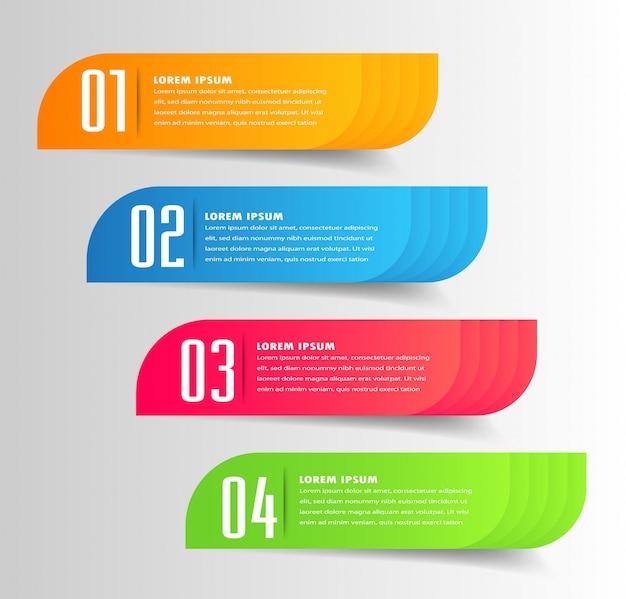 Modèle de zone de texte papier moderne, bannière infographique