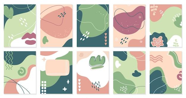 Modèles abstraits créatifs. affiches dessinées à la main à la mode, invitation de style artistique doodle de médias sociaux, jeu d'illustration de fond de bannière. modèle à main levée de carte, peinture tendance gribouillage