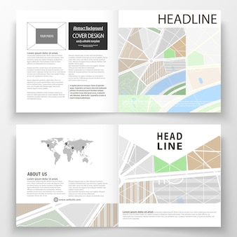 Modèles d'affaires pour brochure bi carré, magazine, flyer, rapport.