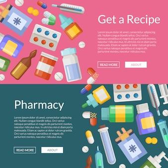 Modèles d'affiche de bannière horizontale pharmacie ou médicaments de dessin animé