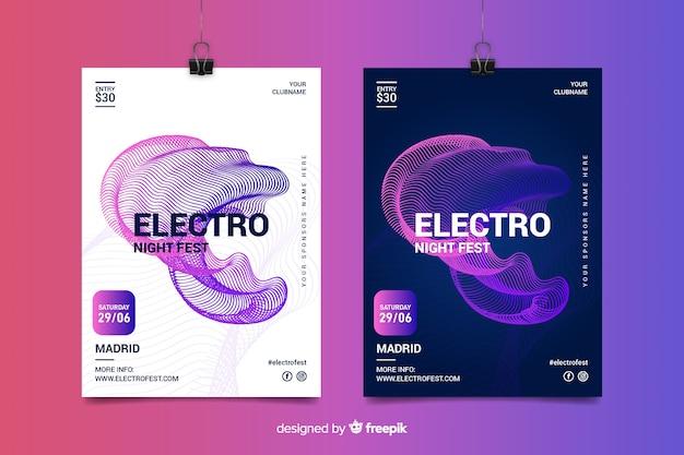 Modèles d'affiches de festival de musique électronique
