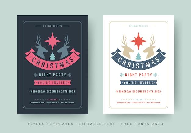 Modèles d'affiches flyers fête de noël sertis de polices modifiables design typographique vintage rétro