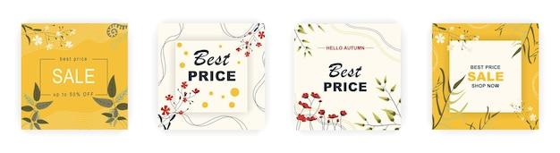 Modèles d'affiches de vente carrée d'automne modernes publications sur les réseaux sociaux avec motif floral et géométrique