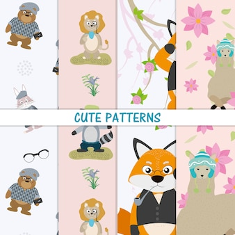 Modèles d'animaux mignons vector design graphique d'illustration