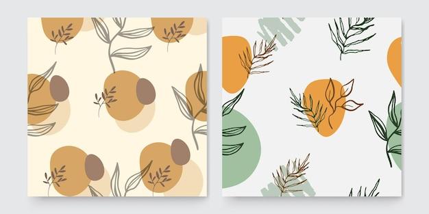 Modèles d'art carré abstrait à la mode avec des éléments floraux et géométriques. convient pour les publications sur les réseaux sociaux, les applications mobiles, la conception de bannières et les publicités web ou internet. milieux de mode