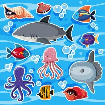 Modèles d'autocollants avec des animaux marins sous l'eau
