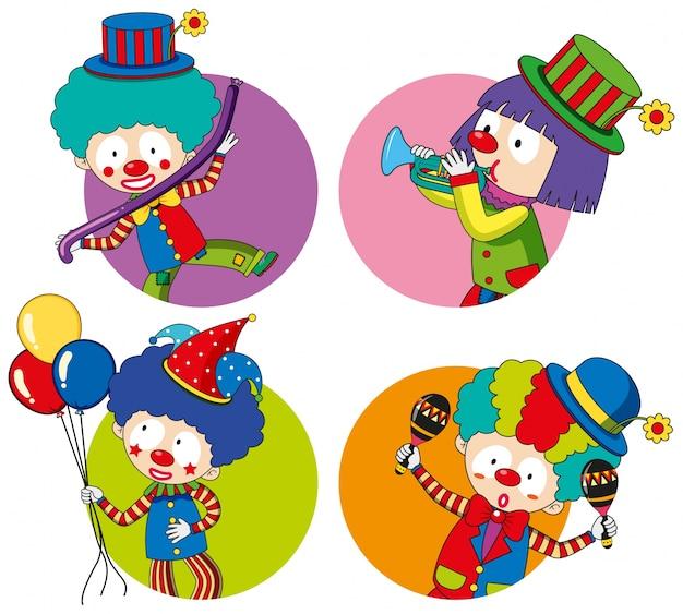 Modèles d'autocollants avec des clowns heureux