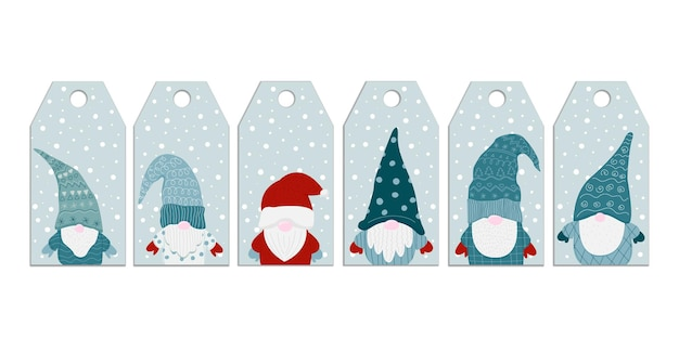 Modèles de balises de noël avec gnome de dessin animé mignon petit nain balises du nord de l'hiver du nouvel an