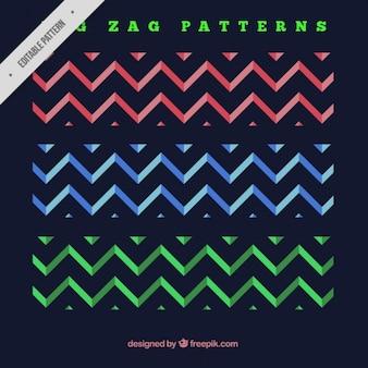 Les modèles de bandes en zig-zag de couleur