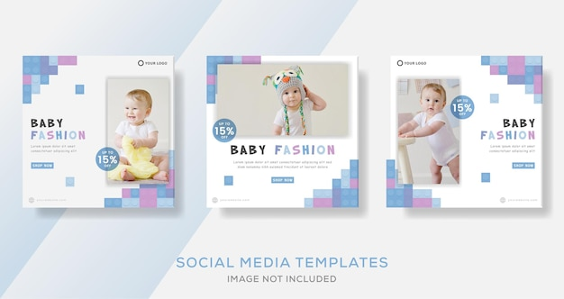 Les modèles de bannière de bébé postent pour les réseaux sociaux instagram.