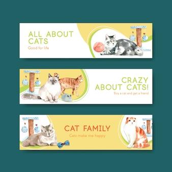 Modèles de bannière de chats mignons
