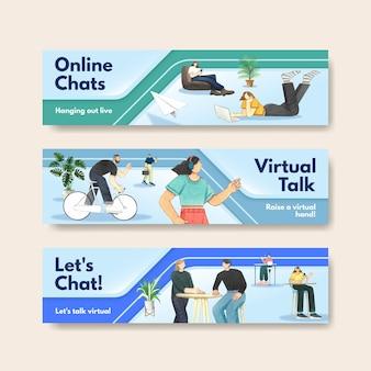 Modèles de bannière avec concept de conversation en direct, style aquarelle