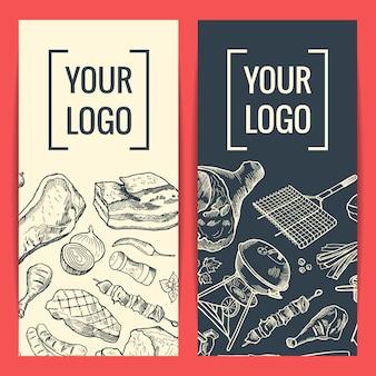 Modèles de bannière ou de flyer avec des éléments de viande dessinés à la main et placez le logo ou le texte