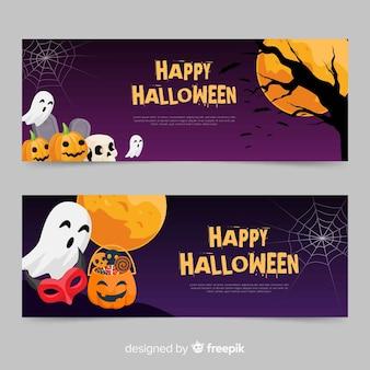 Modèles de bannière halloween au design plat