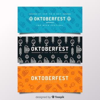 Modèles de bannière oktoberfest dessinés à la main