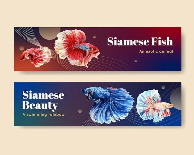 Modèles de bannière avec poisson combattant siames