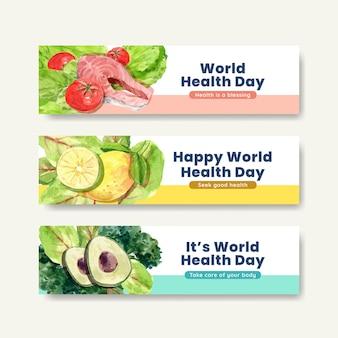 Modèles de bannière pour la journée mondiale de la santé dans un style aquarelle
