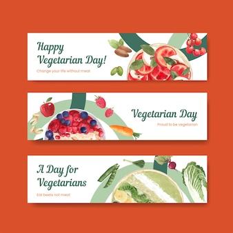 Modèles de bannière pour la journée mondiale des végétariens dans un style aquarelle