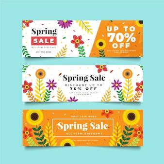Modèles de bannière de vente d'été avec tournesols