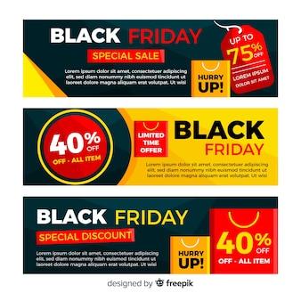 Modèles de bannière de vente vendredi noir