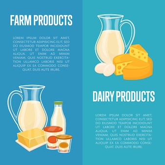 Modèles de bannière verticale de produits laitiers avec un espace pour le texte