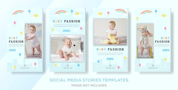 Modèles de bannière de vêtements de magasin de bébé colorés. vecteur premuim